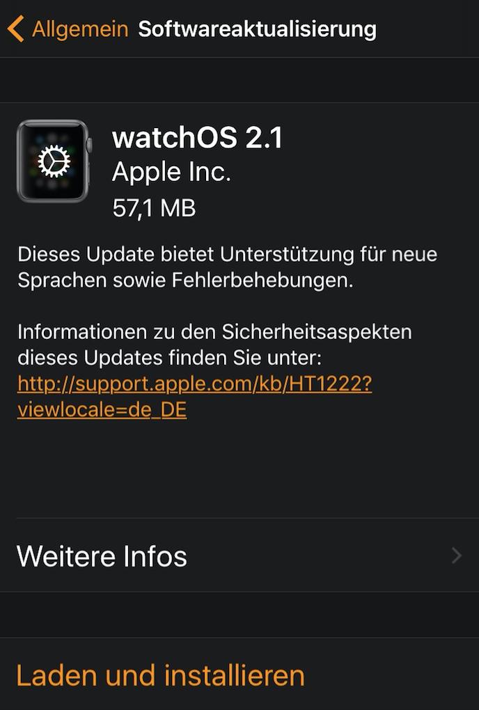 watchOS 2.1 und Apple TVOS 9.1